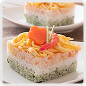 3色の簡単押し寿司