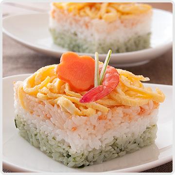 3色の簡単押し寿司イメージ